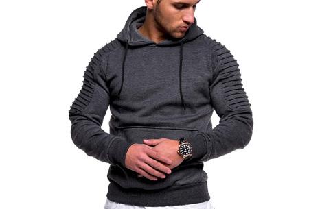 Rib sleeve hoodie voor heren | Stoere trui in effen kleur of met camouflage print Donkergrijs