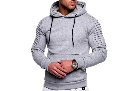 Rib sleeve hoodie voor heren | Stoere trui in effen kleur of met camouflage print Lichtgrijs