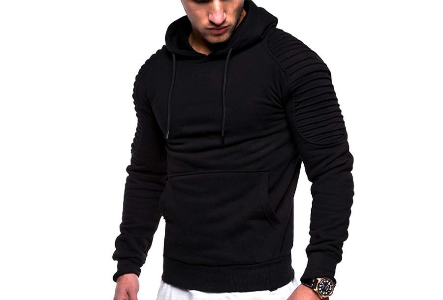Rib sleeve hoodie voor heren - Maat S - Zwart