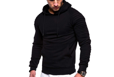 Rib sleeve hoodie voor heren | Stoere trui in effen kleur of met camouflage print Zwart