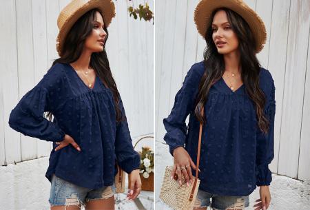 Dots blouse | Sjieke dames blouse met bohemian bolletjespatroon Navyblauw