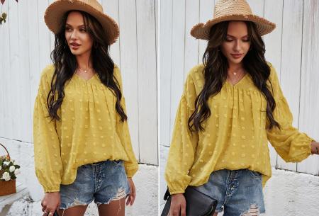 Dots blouse | Sjieke dames blouse met bohemian bolletjespatroon Geel