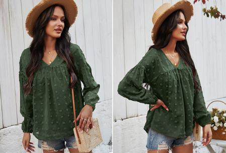 Dots blouse | Sjieke dames blouse met bohemian bolletjespatroon Groen