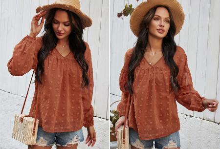 Dots blouse | Sjieke dames blouse met bohemian bolletjespatroon Terracotta