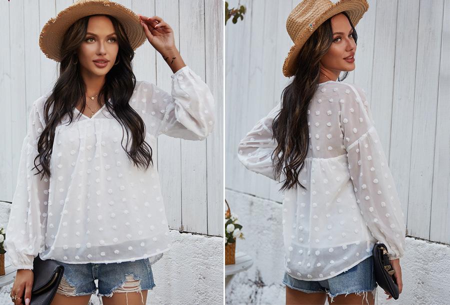 Dots blouse Maat XL - Wit