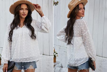Dots blouse | Sjieke dames blouse met bohemian bolletjespatroon Wit