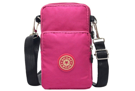 Crossbody tasje | Handig telefoontasje - In 10 verschillende kleuren Roze