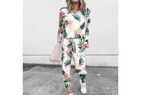 Comfy huispak met print   Joggingpak voor dames - keuze uit 11 kleuren Leaf