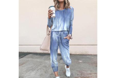 Comfy huispak met print   Joggingpak voor dames - keuze uit 11 kleuren Washed blue