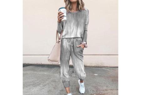 Comfy huispak met print   Joggingpak voor dames - keuze uit 11 kleuren Washed grey