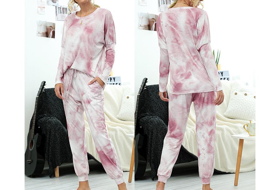 Comfy huispak met print - Maat L - Washed pink