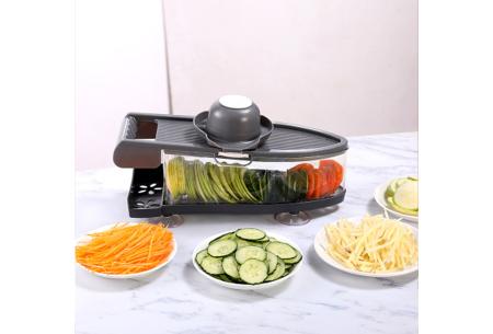 6-in-1 groentesnijder   Multifunctionele mandoline met 6 verschillende mesjes én dunschiller Grijs