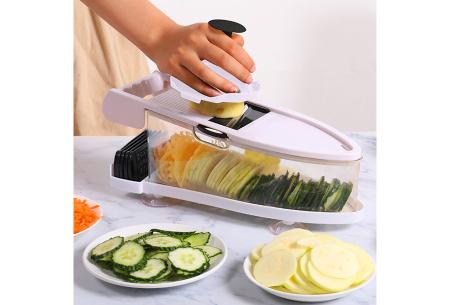 6-in-1 groentesnijder   Multifunctionele mandoline met 6 verschillende mesjes én dunschiller