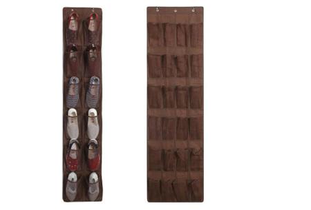 Hangende schoenenopberger | Handig schoenen opbergsysteem voor aan de deur, kast of muur Bruin