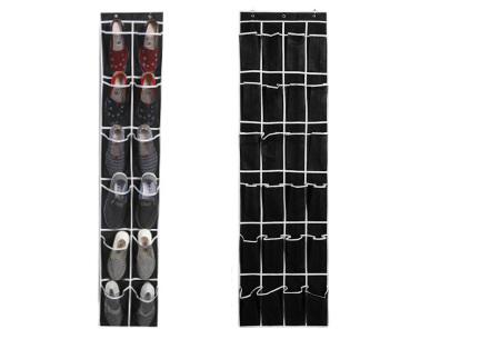 Hangende schoenenopberger | Handig schoenen opbergsysteem voor aan de deur, kast of muur Zwart/wit