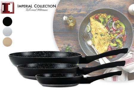 Koekenpannenset | Set van 3 pannen met marmeren coating