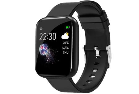 Unisex smartwatch | Stijlvol horloge met siliconen bandje Zwart