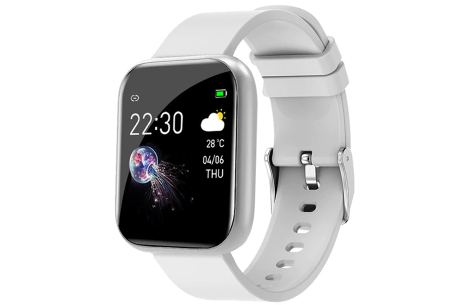 Unisex smartwatch | Stijlvol horloge met siliconen bandje Wit