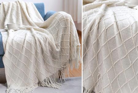 Trendy plaid | Deken met franjes en gehaakt detail - In 9 kleuren en 2 maten Beige