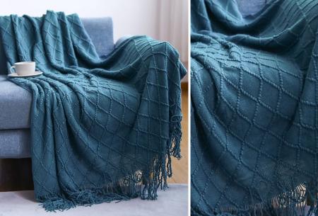 Trendy plaid | Deken met franjes en gehaakt detail - In 9 kleuren en 2 maten Donkerblauw