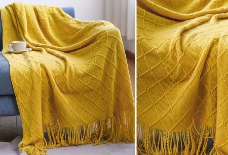 Trendy plaid | Deken met franjes en gehaakt detail - In 9 kleuren en 2 maten Geel
