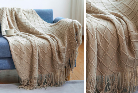 Trendy plaid | Deken met franjes en gehaakt detail - In 9 kleuren en 2 maten Khaki