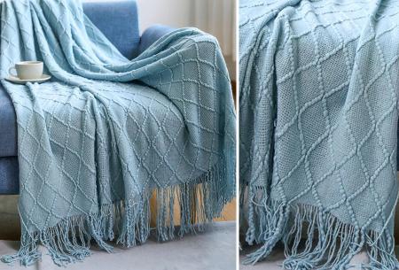 Trendy plaid | Deken met franjes en gehaakt detail - In 9 kleuren en 2 maten Lichtblauw