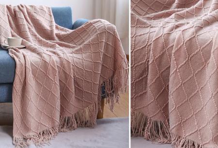 Trendy plaid | Deken met franjes en gehaakt detail - In 9 kleuren en 2 maten Roze