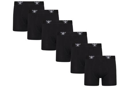 Multipack heren boxershorts   6-pack katoenen boxers  Zwart