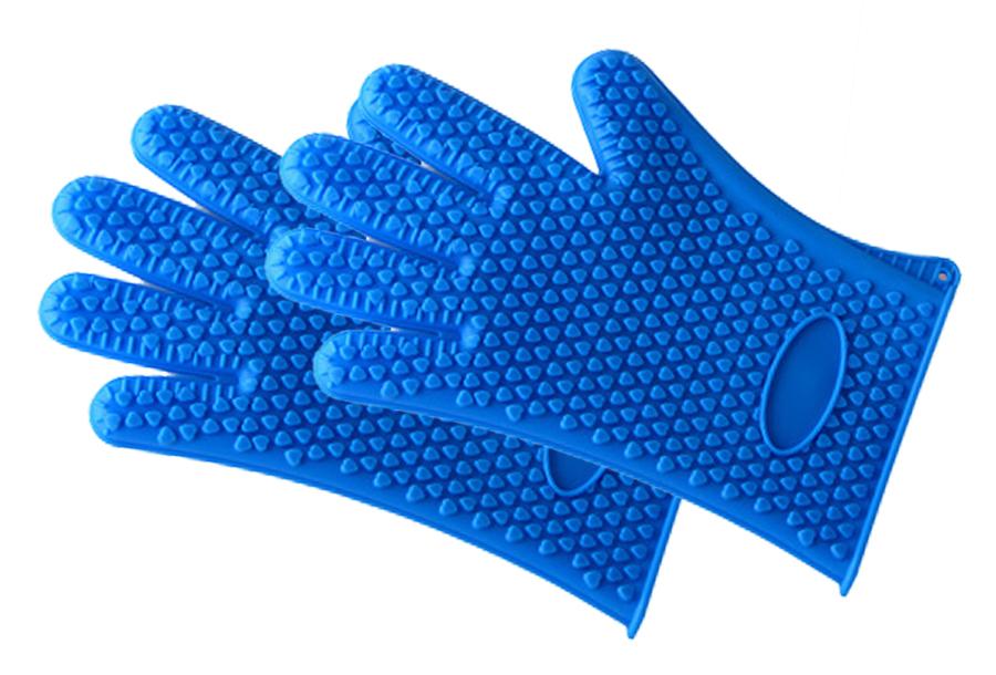 Siliconen ovenhandschoenen 2 x siliconen ovenhandschoen - blauw