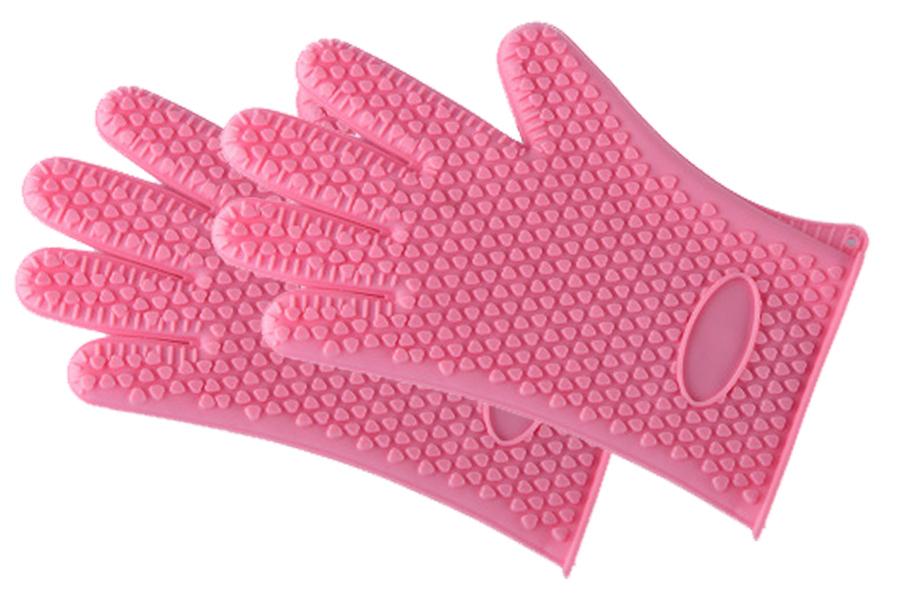 Siliconen ovenhandschoenen 2 x siliconen ovenhandschoen - roze