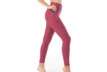 Push-up sportlegging | Dames legging met corrigerend en liftend effect - in 6 kleuren Framboosrood