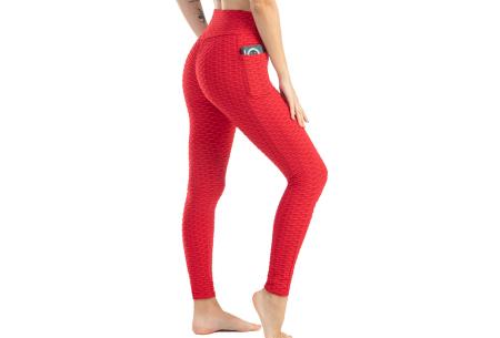 Push-up sportlegging | Dames legging met corrigerend en liftend effect - in 6 kleuren Rood