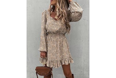 Floral dress | Trendy jurkje met bloemenprint  Beige