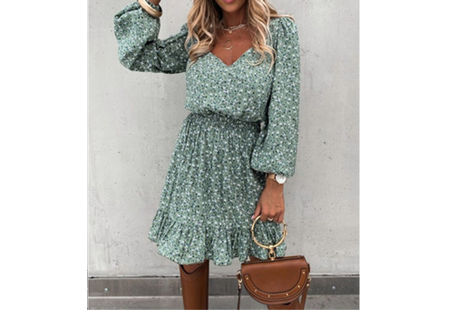 Floral dress - Maat L - Groen