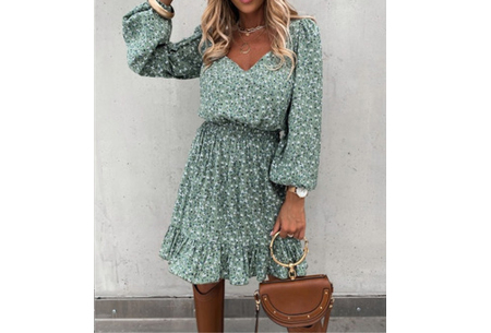 Floral dress | Trendy jurkje met bloemenprint  Groen
