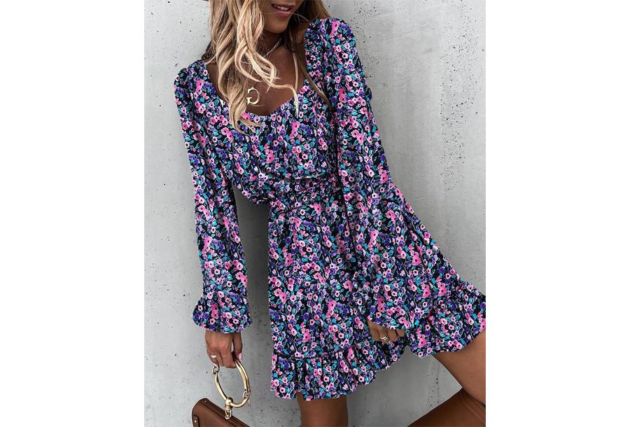 Floral dress - Maat L - Paars