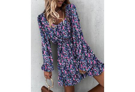 Floral dress | Trendy jurkje met bloemenprint  Paars