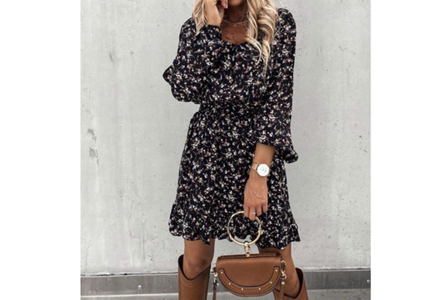 Floral dress - Maat XS - Zwart