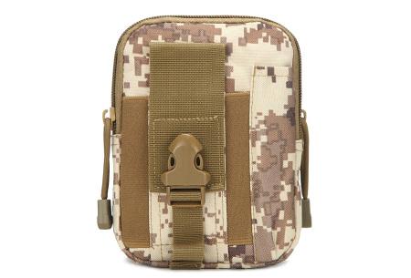 Survival riemtasje   Handig heuptasje voor heren en dames Pixel leger - beige