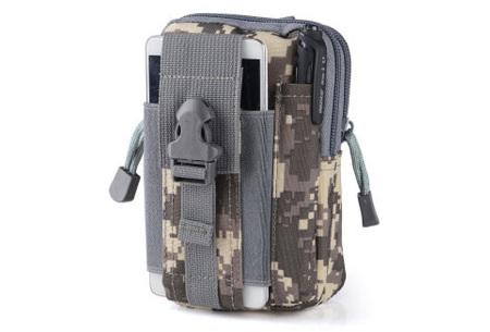 Survival riemtasje   Handig heuptasje voor heren en dames Pixel leger - grijs