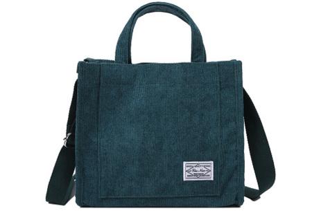 Corduroy handtas | Hip schoudertasje voor dames  Groenblauw
