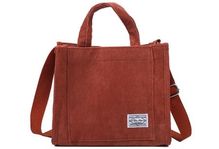 Corduroy handtas | Hip schoudertasje voor dames  Rood
