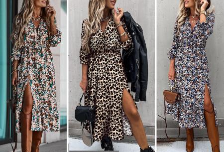 Split blousejurk | Stijlvolle midi jurk in 6 prints