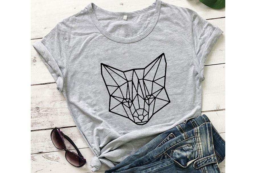 Geometric T-shirt - Maat L - Vos - Grijs