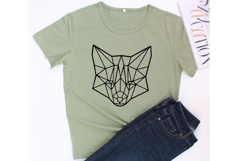 Geometric T-shirt - Maat M - Vos - Groen