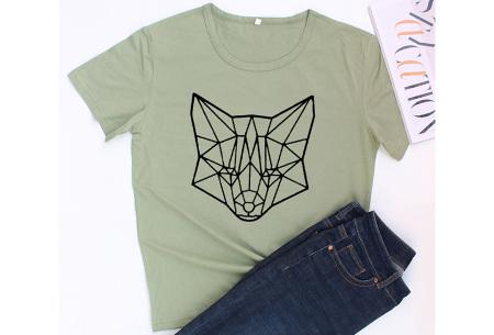 Geometric T-shirt | Dames shirts met verschillende gave prints Vos - Groen