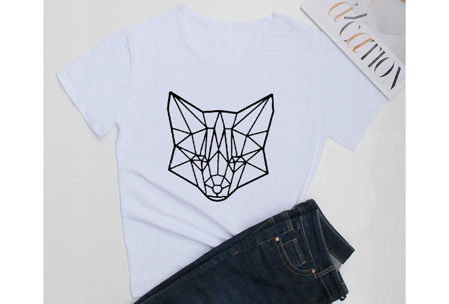 Geometric T-shirt - Maat M - Vos - Wit
