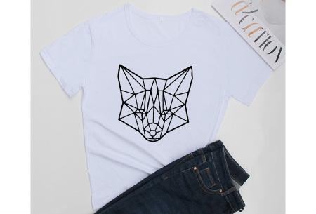 Geometric T-shirt | Dames shirts met verschillende gave prints Vos - Wit
