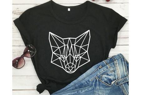 Geometric T-shirt | Dames shirts met verschillende gave prints Vos - Zwart